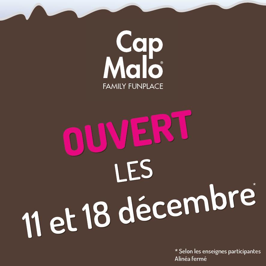 Ouverture Cap Malo dimanches avant Noël